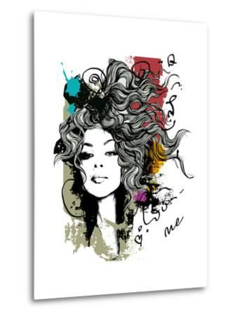 Ink Print with Girl and Decorative Hair for T-Shirt-A Frants-Metal Print