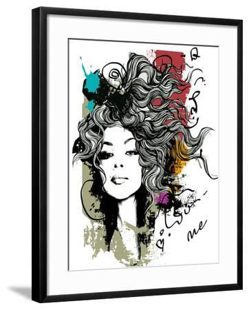 Ink Print with Girl and Decorative Hair for T-Shirt-A Frants-Framed Art Print