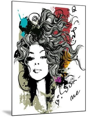 Ink Print with Girl and Decorative Hair for T-Shirt-A Frants-Mounted Art Print