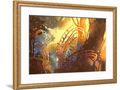 Fantasy Forest with Abstract Trees,Illustration Art-Tithi Luadthong-Framed Art Print