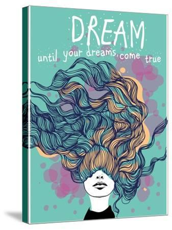 Freehand Vector Drawing - Dreaming Girl with Decorative Hair-A Frants-Stretched Canvas Print