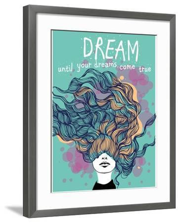 Freehand Vector Drawing - Dreaming Girl with Decorative Hair-A Frants-Framed Art Print