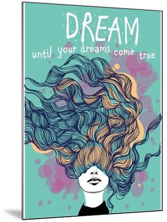 Freehand Vector Drawing - Dreaming Girl with Decorative Hair-A Frants-Mounted Art Print