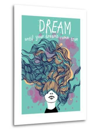 Freehand Vector Drawing - Dreaming Girl with Decorative Hair-A Frants-Metal Print