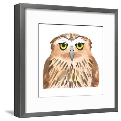 Owl Bird. Watercolor, Vector-Evgeniy Agarkov-Framed Art Print
