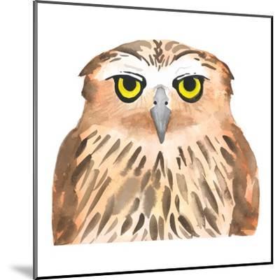 Owl Bird. Watercolor, Vector-Evgeniy Agarkov-Mounted Art Print