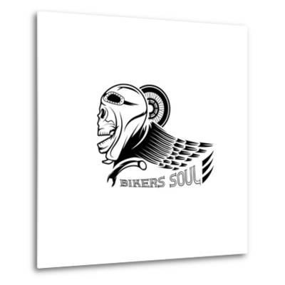 Bikers Theme Label with Skull,Wheel and Wing- UVAconcept-Metal Print
