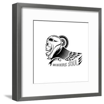 Bikers Theme Label with Skull,Wheel and Wing- UVAconcept-Framed Art Print