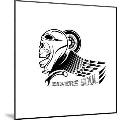 Bikers Theme Label with Skull,Wheel and Wing- UVAconcept-Mounted Art Print