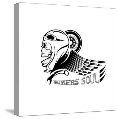Bikers Theme Label with Skull,Wheel and Wing- UVAconcept-Stretched Canvas Print