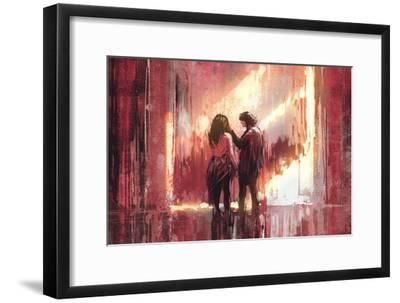 Young Couple in Love Outdoor,Digital Painting,Illustration-Tithi Luadthong-Framed Art Print