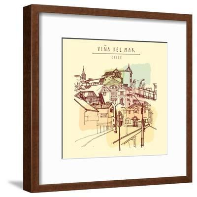 Victorian Style Architecture in Vina Del Mar, Chile, South America. Hand Drawn Vintage Postcard. Ve-babayuka-Framed Art Print