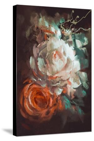 Bouquet of Roses with Oil Painting Style,Illustration-Tithi Luadthong-Stretched Canvas Print
