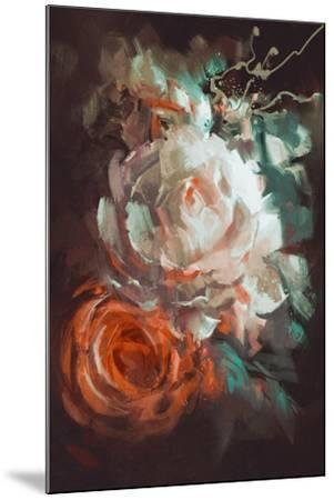 Bouquet of Roses with Oil Painting Style,Illustration-Tithi Luadthong-Mounted Art Print