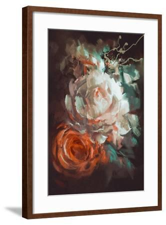 Bouquet of Roses with Oil Painting Style,Illustration-Tithi Luadthong-Framed Art Print