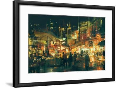 Digital Painting of People Walking in the Market at Night,Illustration-Tithi Luadthong-Framed Art Print