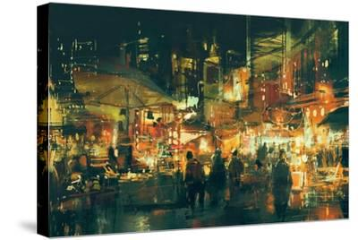 Digital Painting of People Walking in the Market at Night,Illustration-Tithi Luadthong-Stretched Canvas Print