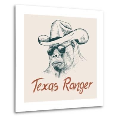 Gorilla like a Texas Ranger Dressed in Sheriff Hat.Prints Design for T-Shirts-Dimonika-Metal Print