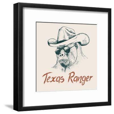 Gorilla like a Texas Ranger Dressed in Sheriff Hat.Prints Design for T-Shirts-Dimonika-Framed Art Print