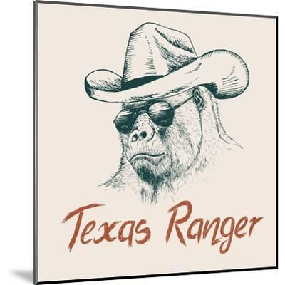 Gorilla like a Texas Ranger Dressed in Sheriff Hat.Prints Design for T-Shirts-Dimonika-Mounted Art Print