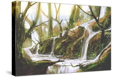 Waterfall in Forest,Illustration Painting-Tithi Luadthong-Stretched Canvas Print