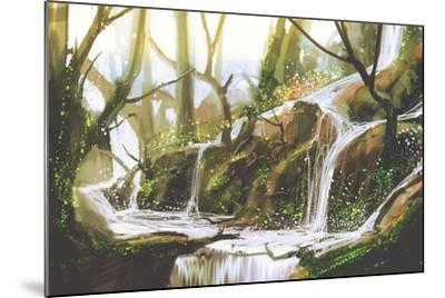 Waterfall in Forest,Illustration Painting-Tithi Luadthong-Mounted Art Print