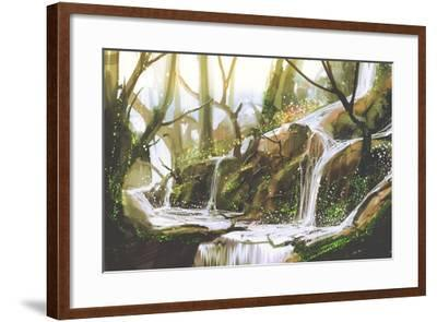 Waterfall in Forest,Illustration Painting-Tithi Luadthong-Framed Art Print