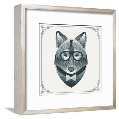 Halftone, Dotwork Hipster Wolf with Black Dots. Abstract Geometric Modern Hipster Character. Vector- Krol-Framed Art Print