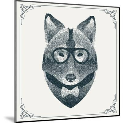 Halftone, Dotwork Hipster Wolf with Black Dots. Abstract Geometric Modern Hipster Character. Vector- Krol-Mounted Art Print
