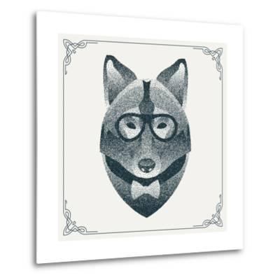 Halftone, Dotwork Hipster Wolf with Black Dots. Abstract Geometric Modern Hipster Character. Vector- Krol-Metal Print