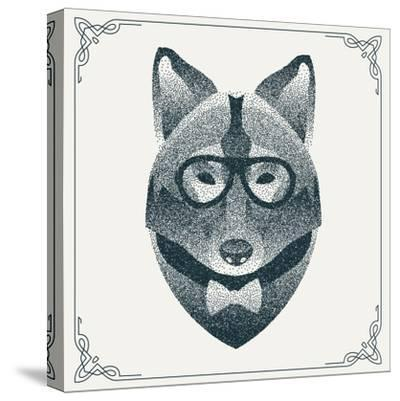 Halftone, Dotwork Hipster Wolf with Black Dots. Abstract Geometric Modern Hipster Character. Vector- Krol-Stretched Canvas Print
