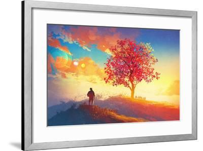 Autumn Landscape with Alone Tree on Mountain,Coming Home Concept,Illustration Painting-Tithi Luadthong-Framed Art Print