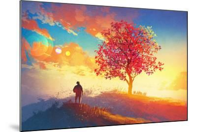 Autumn Landscape with Alone Tree on Mountain,Coming Home Concept,Illustration Painting-Tithi Luadthong-Mounted Art Print