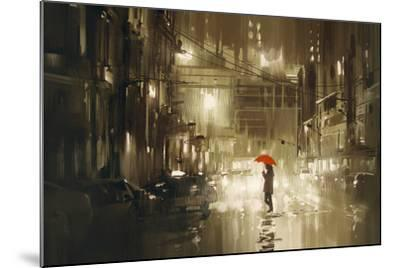 Woman with Red Umbrella Crossing the Street,Rainy Night,Illustration-Tithi Luadthong-Mounted Art Print