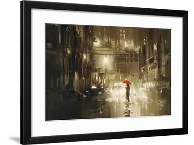 Woman with Red Umbrella Crossing the Street,Rainy Night,Illustration-Tithi Luadthong-Framed Art Print