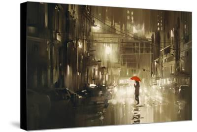 Woman with Red Umbrella Crossing the Street,Rainy Night,Illustration-Tithi Luadthong-Stretched Canvas Print