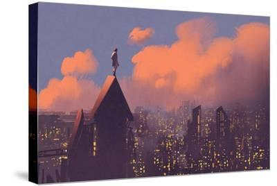 Man Watching over the City,Illustration Painting-Tithi Luadthong-Stretched Canvas Print
