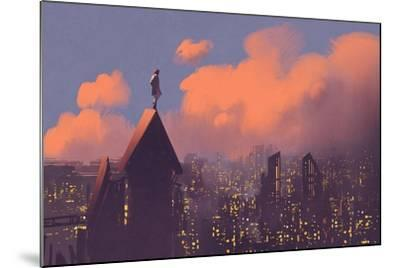 Man Watching over the City,Illustration Painting-Tithi Luadthong-Mounted Art Print