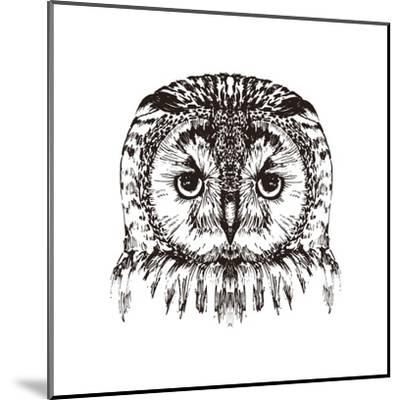 Hand Drawn Owl Portrait, Vector Illustration- Melek8-Mounted Art Print