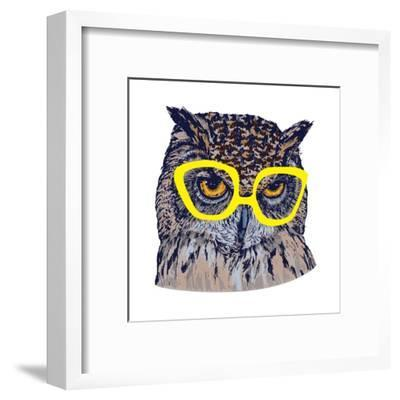 Hand Drawn Owl Face with Yellow Glasses, Isolated on White, Vector Illustration- Melek8-Framed Art Print