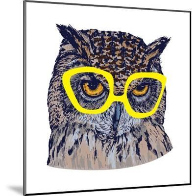 Hand Drawn Owl Face with Yellow Glasses, Isolated on White, Vector Illustration- Melek8-Mounted Art Print