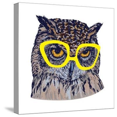 Hand Drawn Owl Face with Yellow Glasses, Isolated on White, Vector Illustration- Melek8-Stretched Canvas Print