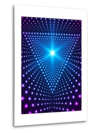 Triangle Border with Light Effects. Concept for Party Flyers, Music Posters and Disco Graphic Desig-SkillUp-Metal Print
