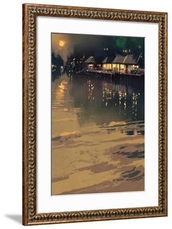 Village beside River,Night Scene Landscape,Illustration-Tithi Luadthong-Framed Art Print