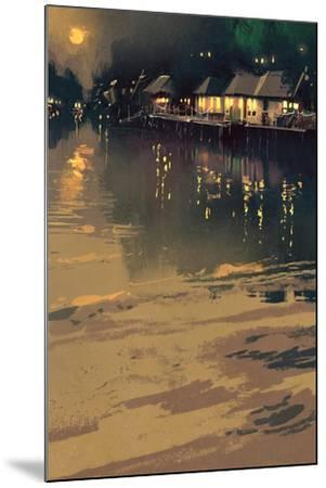 Village beside River,Night Scene Landscape,Illustration-Tithi Luadthong-Mounted Art Print