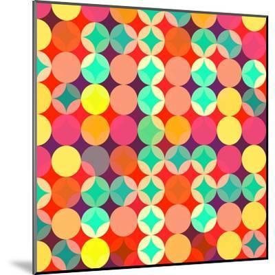 Retro Style Abstract Colorful Background-HAKKI ARSLAN-Mounted Art Print