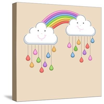Monsoon Season Background with Happy Clouds, Rainbow and Colorful Water Drops. Kiddish Concept.-Allies Interactive-Stretched Canvas Print