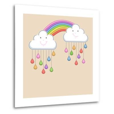 Monsoon Season Background with Happy Clouds, Rainbow and Colorful Water Drops. Kiddish Concept.-Allies Interactive-Metal Print