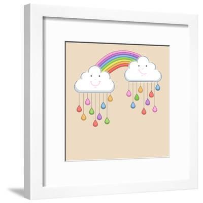 Monsoon Season Background with Happy Clouds, Rainbow and Colorful Water Drops. Kiddish Concept.-Allies Interactive-Framed Art Print