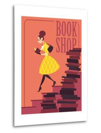 Vector illustration of bookstore, books shop, library. Retro poster design. Girl reading a book.-Porcelain White-Metal Print